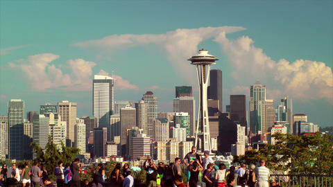 Tourists and Seattle Skyline Stock Video Footage