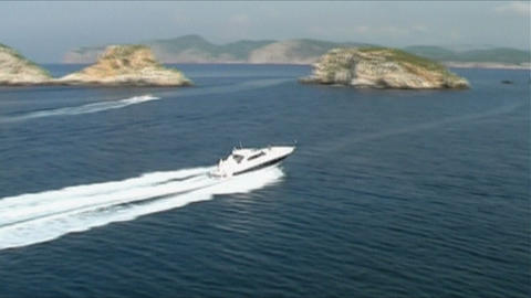 Motoryacht at sea Stock Video Footage