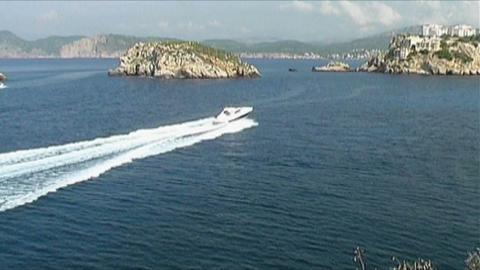 Motoryacht at sea Stock Video Footage
