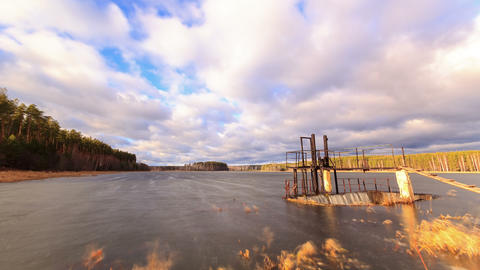 Dam on the background of clouds. Time Lapse. 4K Stock Video Footage