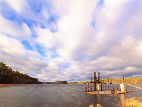 Dam on the background of clouds. Time Lapse. 4x3 Stock Video Footage