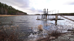 Water flows over the dam Stock Video Footage