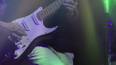 Solo on electric guitar HD Stock Video Footage