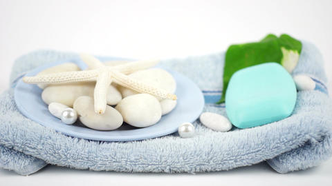 Soap Toiletries At Spa stock footage
