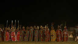 roman army night 02 Stock Video Footage