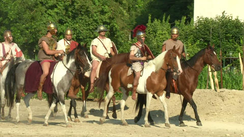 roman camp 03 Stock Video Footage