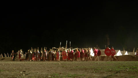 roman camp night 01 Footage