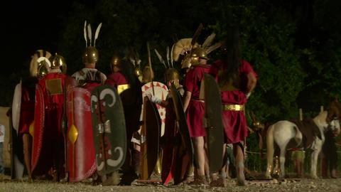 roman camp night 03 Stock Video Footage