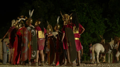 roman camp night 03 Footage