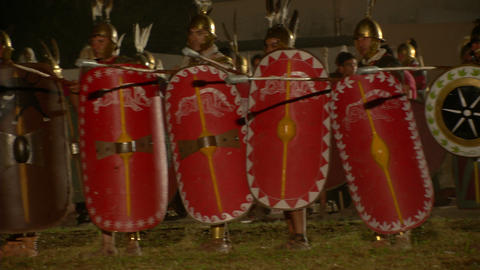 roman celt attack night 02 Stock Video Footage