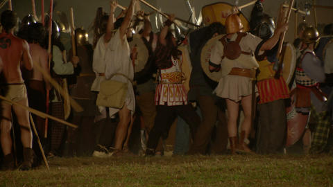 roman celt attack night 04 Stock Video Footage