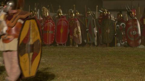 roman celt attack night 06 Stock Video Footage