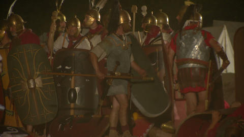 roman celt attack night 08 Stock Video Footage