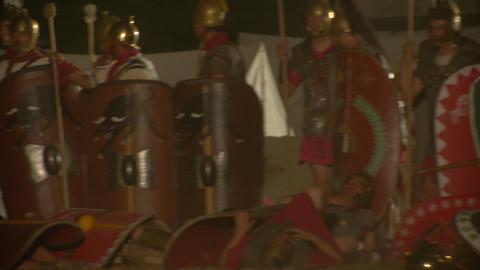 roman celt attack night 08 Stock Video Footage