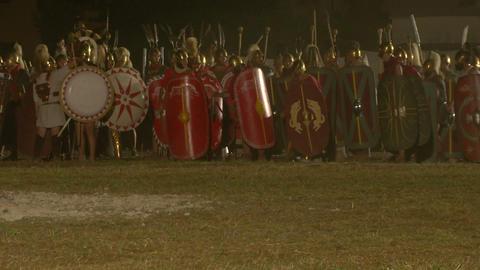 roman celt attack night 10 Stock Video Footage