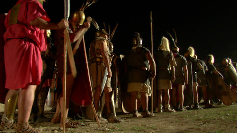 roman legion march night 01 Stock Video Footage