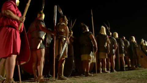 roman legion march night 01 Stock Video Footage
