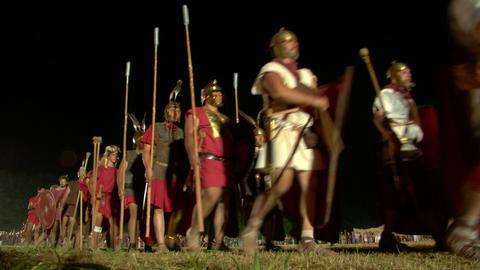 roman legion march night 03 Stock Video Footage