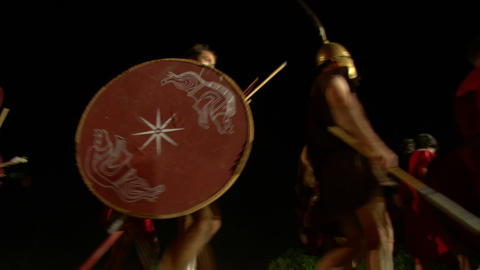 roman legion march night 03 Stock Video Footage