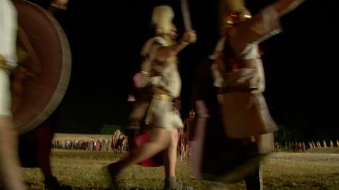 roman legion march night 05 Stock Video Footage