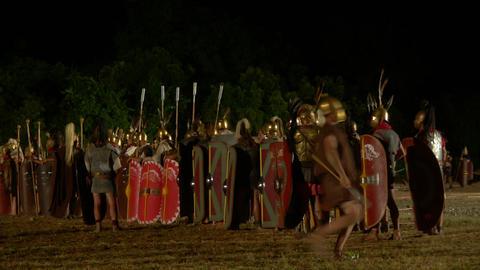 roman legion march night 07 Stock Video Footage
