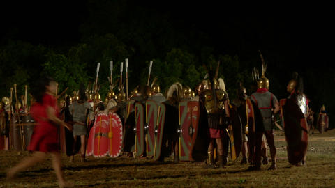 roman legion march night 07 Stock Video Footage