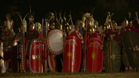 roman legion march night 09 Stock Video Footage