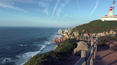 coastline at cabo da roca Stock Video Footage