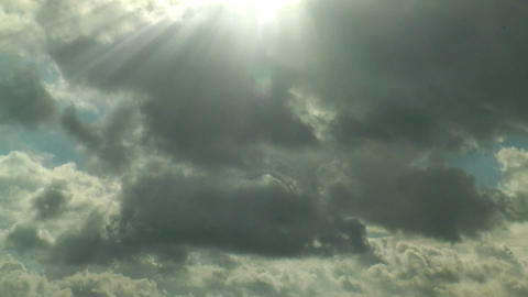 Sunbeams Moving Clouds Timelapse stock footage