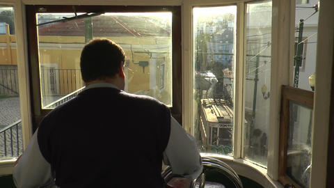 historic cable cars passing in lisbon Stock Video Footage