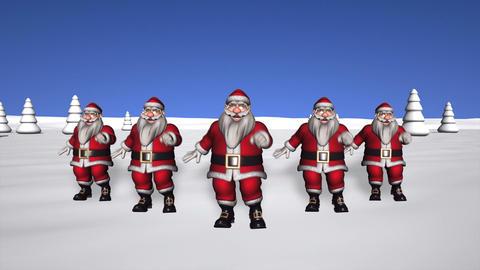 5 Dancing Santas Stock Video Footage