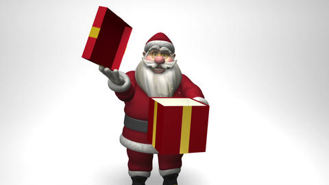 Santa Claus opens a gift box Animation