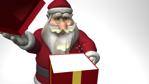 Santa Claus opens a gift box Stock Video Footage