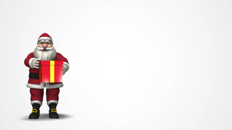 Sant Claus with a gift box: Merry Christmas! Stock Video Footage