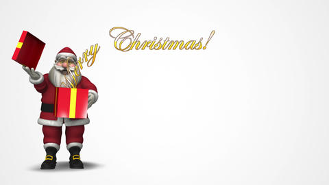 Sant Claus with a gift box: Merry Christmas! Animation