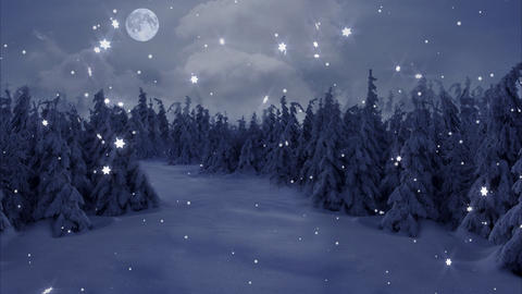 New Year,christmas,3d winter background and moon Stock Video Footage