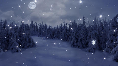 New Year,christmas,3d winter background and moon Animation