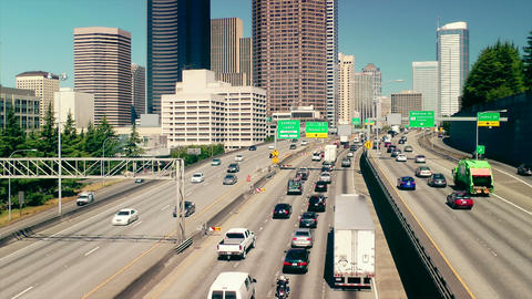 Freeway into Downtown Seattle, Time Lapse Stock Video Footage