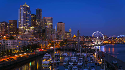 Seattle Waterfront Sunset, Time Lapse Footage