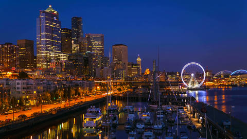 Seattle Waterfront Sunset, Time Lapse Stock Video Footage