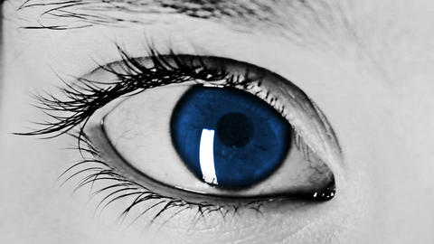 Eye Close-up Shot Blue Stock Video Footage