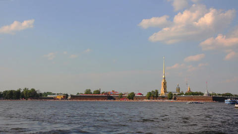 Neva river in the historical center of Saint-Peter Stock Video Footage