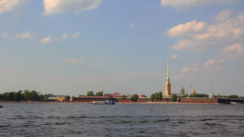 Neva river in the historical center of Saint-Peter Footage