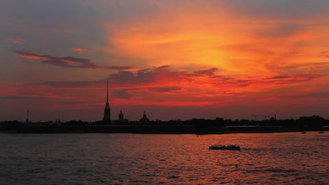 Sunset over Peter and Paul fortress in Saint-Peter Stock Video Footage