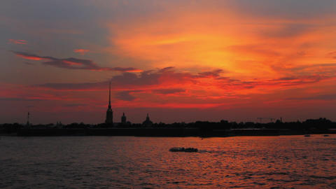 Sunset over Peter and Paul fortress in Saint-Peter Footage
