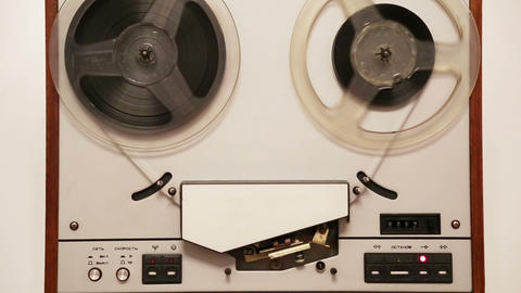 Old Reel Tape Recorder With Spinning Reels stock footage