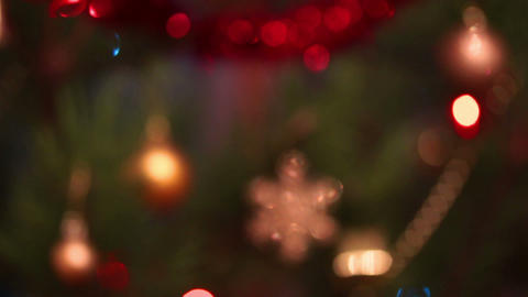 defocused decorated christmas tree with flashing g Footage