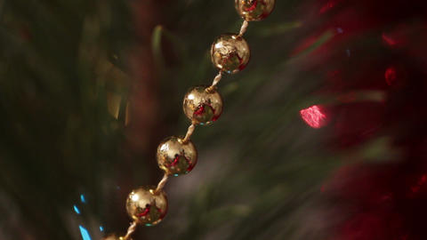 decorated christmas tree with flashing garlands ma Footage