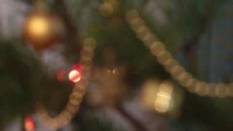 decorated christmas tree with flashing garlands - Stock Video Footage