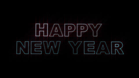 Happy New Year LEDS 01 stock footage